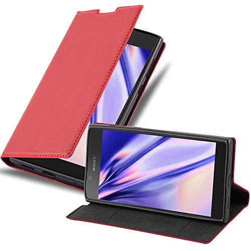 Cadorabo Hülle für Sony Xperia L1 - Hülle in Apfel ROT – Handyhülle mit Magnetverschluss, Standfunktion & Kartenfach - Hülle Cover Schutzhülle Etui Tasche Book Klapp Style