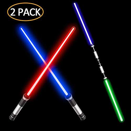 VLSEEK Laser Sword Upgrade Light Up 2-in-1 7 Color Changing LED Light Up FX Dual Saber Sound (Motion Sensitive) for Galaxy War Fighters and Warriors,...