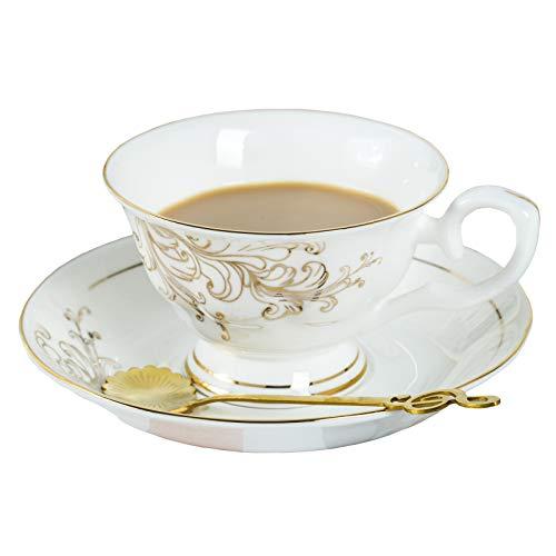 Daveinmic - Juego de taza de té y platillo de cerámica de porcelana china con borde dorado, incluye una cuchara de metal de color dorado, taza de porcelana y platillo, 6.5 onzas...