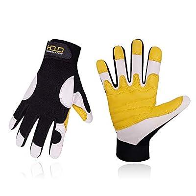 Goatskin Leather Work Gloves for Men, Stretchable Utility Safety Work Gloves Mechanics Gloves Driver Work Gloves, Flexible Breathable Working Gloves (M, Yellow/White)