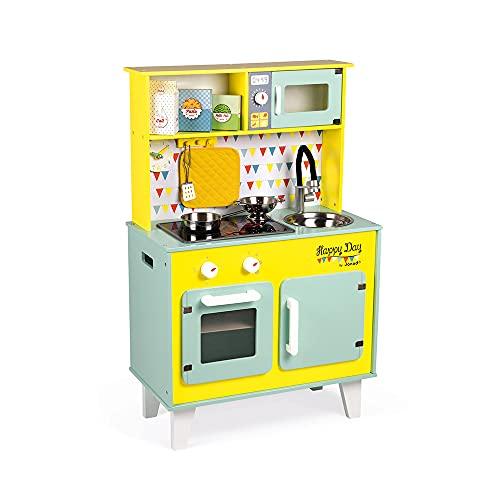 Janod - Grande cucina Happy Day (legno), dotata di frigo, forno a microonde, suono e luci, gioco di imitazione, 7 accessori inclusi, per bambini dai 3 anni in su, J06565, colore: blu e giallo