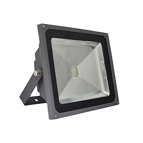 Vision-EL 78012 Projecteur Exterieur LED Gris 50W RGB avec télécommande, Aluminium/Verre, 50 W, I x H-285 x 133 x 235 mm