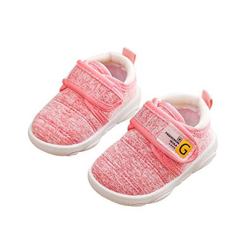 DEBAIJIA Kleinkindschuhe 3-18M Baby First-Walking Kinderschuhe Jungen rutschfeste Netz Atmungsaktives Leichtes TPR Turnschuhe 20/22 EU Pink (Etikettengröße-20)