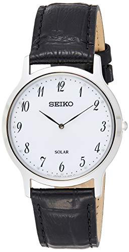 Seiko Herenhorloge analoog Solar met lederen armband SUP863P1