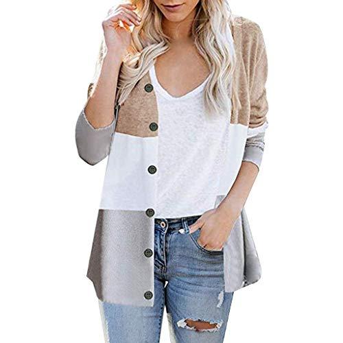 Xmiral Giacca di Jeans Giacche Moto Cardigan Giacca Smoking da Donna Formale Giacca Vestito Smoking Smoking Cardigan Blazer Donna Abito Top Outwear Donna Top Sportivo (L,1- Cachi)