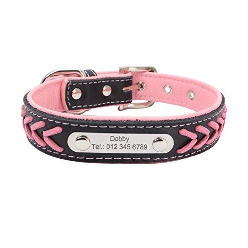 7Morning Leder Hundehalsband Hundemarke mit Personalisiert Edelstahlplatte,Rosa,M