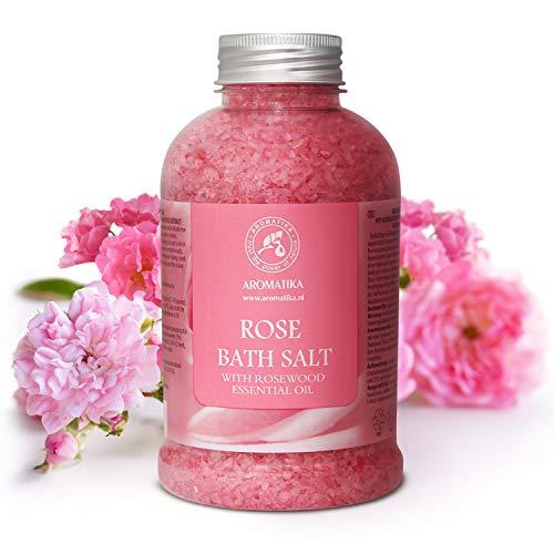 Rose Bain de Sel - Sel de Mer 100% Huile Essentielle de Palissandre Naturel - Sel de Bain Naturel Roses pour Bien Dormir - Soulagement du Stress - Beauté - Baignade - Soins du Corps - Relaxation