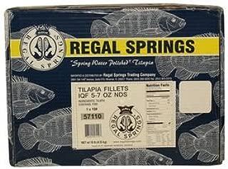 Regal Springs, Tilapia Fillets, 5-7 oz, 10 lbs