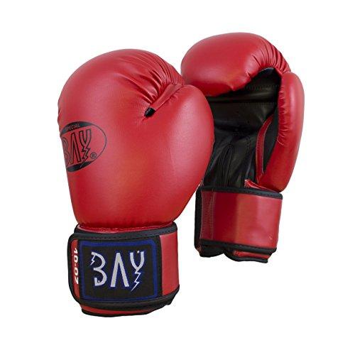 "BAY® ""Future"" Boxhandschuhe rot/schwarz, 10 Unzen, Box-Handschuhe, Boxhandschuh Glover, Leder - PU, UZ OZ, Damen Herren KINDER KIDS"