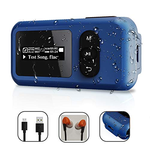 16GB Waterproof IP68 Swimming MP3 Player with Screen, Rotatable Clip,USB Port, More Than 10 Hours Playback, withstands Submersion to 3M,Support FM Radio and Pedometer Function