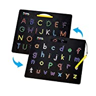 PicassoTiles 2-in-1 Double Sided Magnetic Alphabet Board ABC A-Z Upper Case Capital and Lowercase Letter Writing Reading Playboard 12x10 inch Large Magnet Tablet Pad Open-Ended Learning Playset PTB03