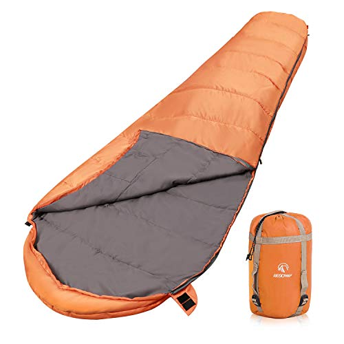 REDCAMP Ultra Lightweight Mummy Sleeping Bag for Backpacking, Comfort for Adults Warm Weather, with Compression Sack, Orange (87'x 31')