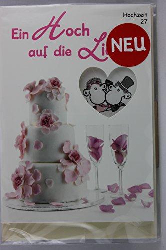 Sheepworld - 55468 - Stanzkarte, Klappkarte Nr. 27, Hochzeit, mit Umschlag, Ein Hoch auf die Liebe! Ein Hoch auf Euch! Die besten Wünsche zur Hochzeit!