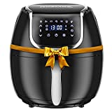 Rozmoz Air Fryer, 7-in-1 Electric Hot Oven Oilless Cooker ,1400W Digital Air Fryer with Appointment Function, LED Touch Screen, Time/Temp Control, Nonstick Basket, 100 Recipes, 4.2QT, Black