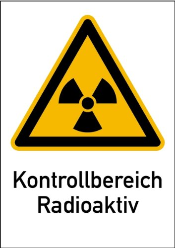 Aufkleber Kontrollbereich Radioaktiv nach DIN-Norm 25430 210x148mm