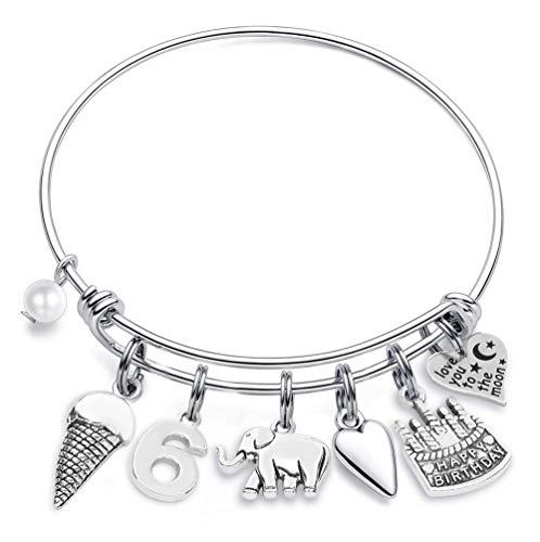 M MOOHAM 6th Birthday Bracelet Gifts for Girls, Six 6 Year Old Girls Gifts Birthday Charm Bracelet Little Girls Kids Toddler Daughter Granddaughter Girls Birthday Gifts Age 6