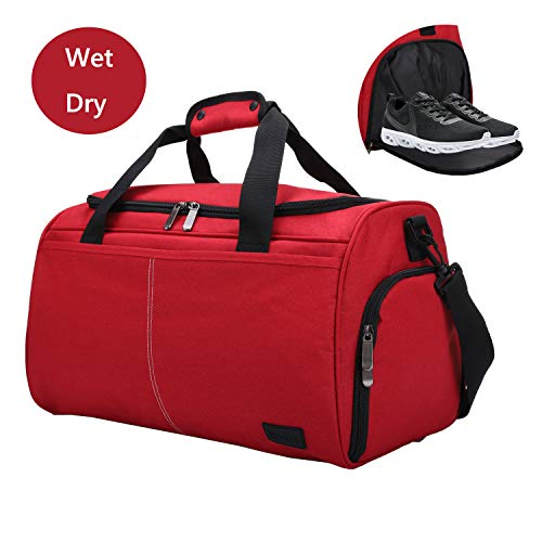 MarsBro Water Resistant Sports Gym Travel Weekender Duffel Bag with Shoe Compartment (35L Red)