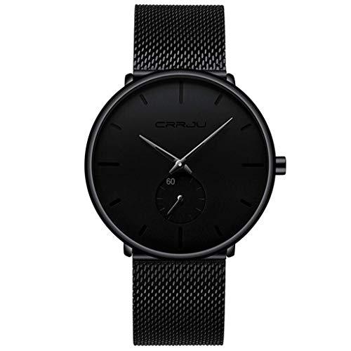 Relojes de pulsera Relojes para Hombres, Reloj de Pulsera de Cuarzo Analógico Simple de Lujo de Moda Unisex, Reloj de Vestir Masculino con Banda de Malla de Acero Inoxidable Negro Clásico Informal Imp