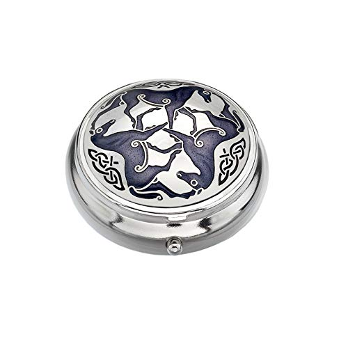 Sea Gems Pillbox Silver Plated Celtic Horse Horses Purple Brand New and Boxed