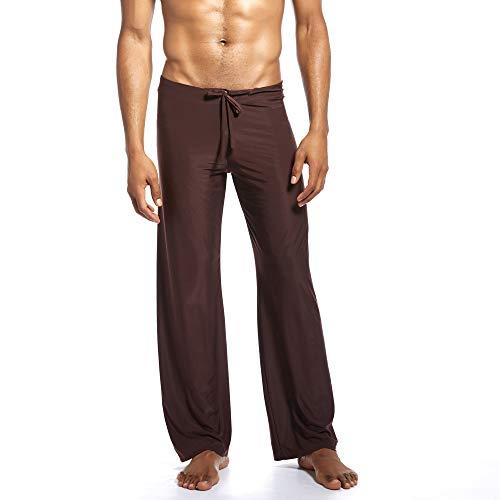 Aiserkly Herren Mode Yoga-Hosen aus reinem neuen Zuhause binden Bequeme Hosen Kaffee XL