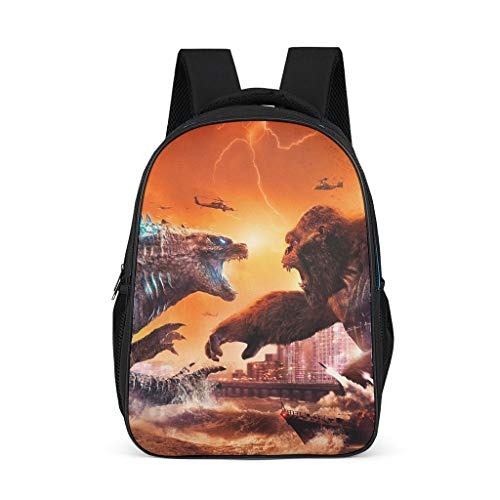 Godzilla and Kong Women's&Men's Backpacks Boys Girls School Book Bags for College Work Bright Gray OneSize