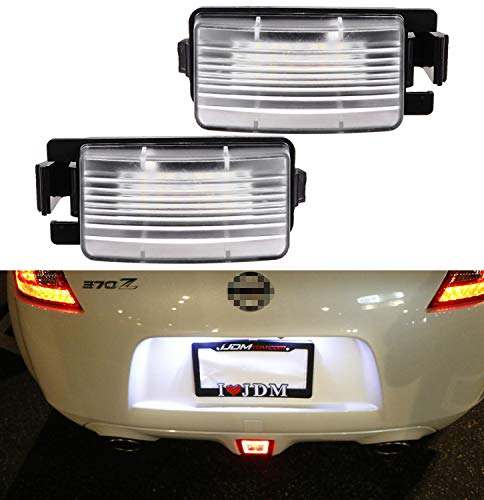 iJDMTOY OEM-Fit 3W Full LED License Plate Light Kit Compatible With Nissan 350z 370z GT-R Cube Leaf Sentra Versa Infiniti G25 G35 G37 Q60, Powered by 18-SMD Xenon White LED
