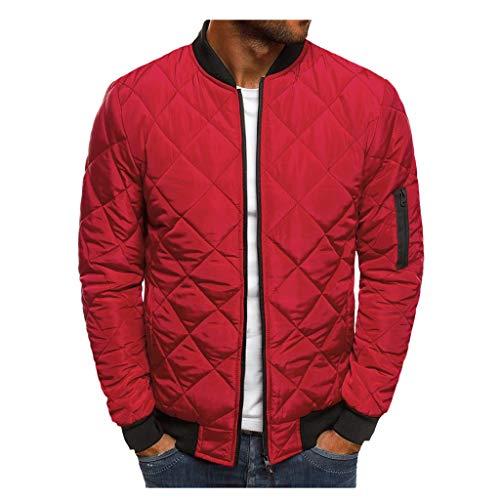 Herren Übergangsjacke Bomberjacke Vintage Herbst Langarm Jacke Steppjacke Übergangsjacke mit Stehkragen Tasche Jungen Mädchen (2XL, Rot)