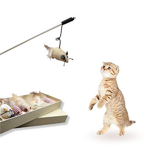 DUANYR-pet Toy Coffret Cadeau interactif Cat Toys, Ensemble de Jouets Chat interactif avec Baguette Magique, Ensemble Cadeau Amusant pour Jouet Chat de 7 pièces, matériau en Lin Naturel Massif