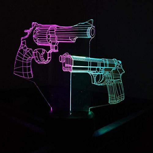 LWJZQT 3d nachtlicht Revolver Und Gun Tisch Moderne Schreibtischlampe Kreative Led Stereo Schöne 7 Farbwechsel Tischlampe Für Schlafzimmer 3D Visuelle Nachtlicht