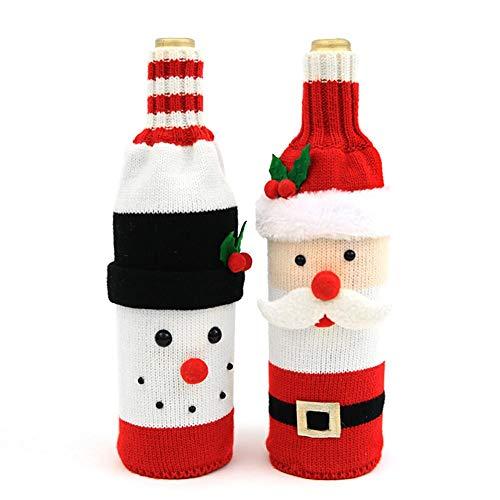 Cute Christmas Sweater - Funda para botella de vino, hecha a mano, para decoración de Navidad, diseño de Navidad, 2 piezas