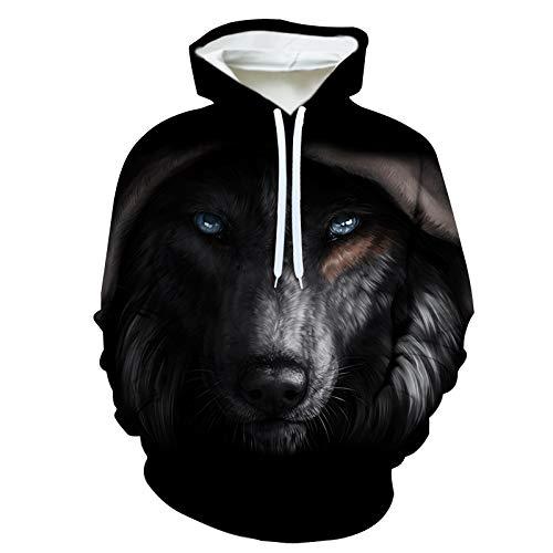 Unisexe Overs Tête De Loup 3D Prints Capuche à Manches Longues Sweat-Shirts en Vrac Casual Chandails à Capuchon (XS-6XL) G-M