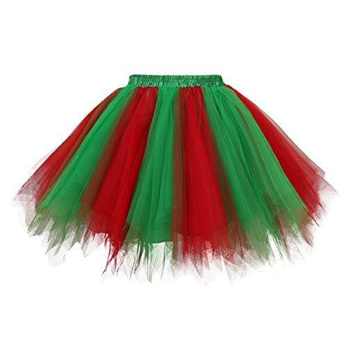 Topdress Women's 1950s Vintage Tutu Petticoat Ballet Bubble Skirt (26 Colors) Green Red M