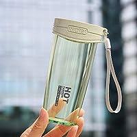 新製品ウォーターカップ アウトドア、家庭、オフィス用ハンドルストラップ付き350mlリークプルーフ簡潔な透明プラスチック製ウォーターボトル (色 : 黄)