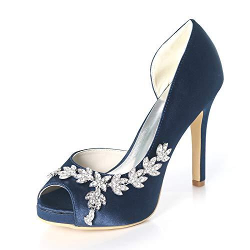 LGYKUMEG Zapatos de Boda Planos de Novia, Zapatos de Baile de Fiesta Nupciales de tacón Alto de Corte clásico para Damas 11cm,04,EU37