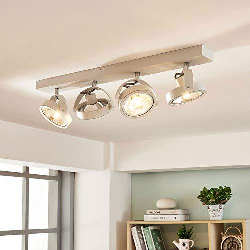 Arcchio LED Deckenlampe 'Lieven' dimmbar (Modern) in Weiß aus Aluminium u.a. für Küche (4 flammig, G9, A+, inkl. Leuchtmittel) - Deckenleuchte, Wandleuchte, Strahler, Spot, Lampe, Küchenleuchte