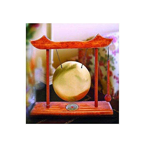 Gong pequeño con estructura de madera de nogal claro,con moneda,código 00210,feng...