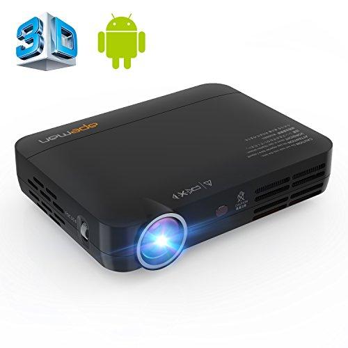 APEMAN Beamer 3D DLP Pico Projector Full HD LED Projektor Heimkino mit WiFi,Android 4.4, Bluetooth 4.0, HDMI,USB (Kontrast: 2000:1, 1280x800 Pixel, 700 ANSI Lumen)