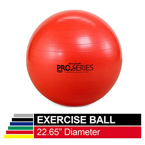 TheraBand Exercise Ball, Professional Series Stability Ball with 55 cm Diameter for Athletes 5'1' to 5'6' Tall, Slow Deflate Fitness Ball for Improved Posture, Balance, Yoga, Pilates, Core, Red