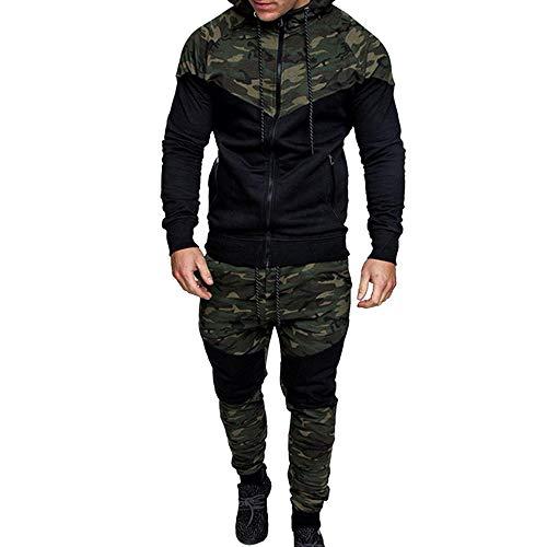 Vertvie Herren Druck Trainingsanzug Sets Langarm Slim Fit Camouflage Sport Anzug Sportswear (Grün, EU XS/Etikettengröße M)