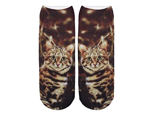 Unbekannt Socken bunt mit lustigen Motiven Print Socken Motivsocken Damen Herren ALSINO, Variante wählen:SO-L018 Katze