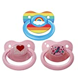 Littletude Adult Sized Pacifier Variety Pack Dummy for Adult Babies, Large Handle, Large Shield, Rainbow, I Heart, Unicorn.