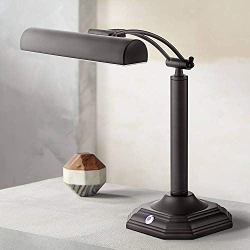 Grady Traditional Piano Banker Desk Lamp LED Adjustable Black Bronze Metal Shade for Office Table - 360 Lighting