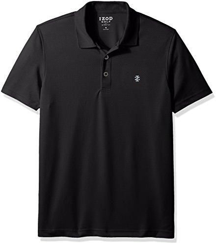 Izod Herren Performance Golf Grid Stretch Polo Hemd, schwarz, Groß