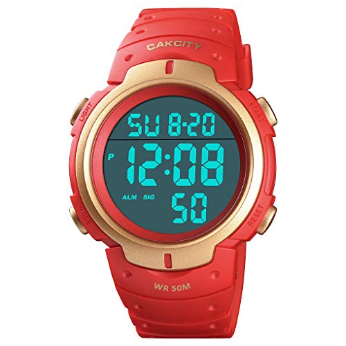 Mens Digital Sports Watch LED Screen Large Face Military Watches for Men Waterproof Casual Luminous...