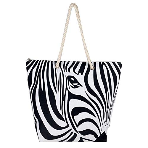 Fuzzy Fabric Heavy Shoulder Premium Canvas Zebra Print Cotton Rope Beach Hand Tote Bags with Zipper Closure for Womens - Black