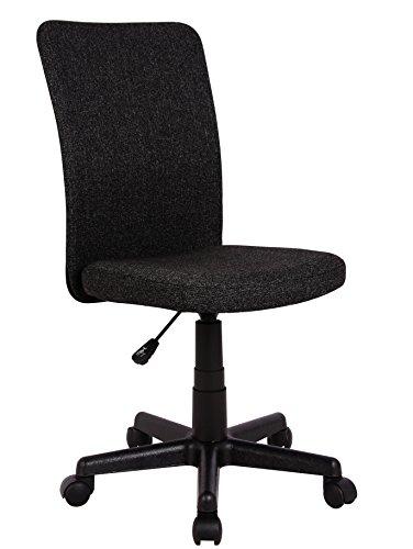 SixBros. Bürostuhl,Schreibtischstuhl zum Drehen, Drehstuhl für's Büro oder Home-Office, stufenlos höhenverstellbar, Chefsessel aus Stoff, schwarz, H-2578/2495