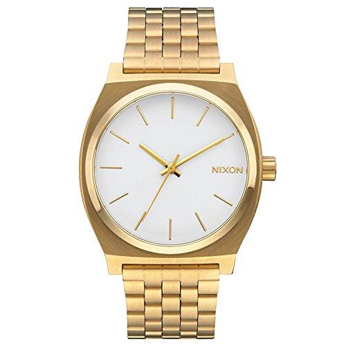 Nixon Time Teller Herrenuhr Analog Quarz mit Edelstahl Armband Gold / Weiß