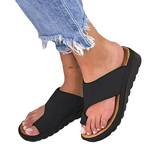 Clenp Dames Sandalen, Mode Dames Zomer Ademend Lichtgewicht Platte Zool Sandalen Slippers Schoenen Zwart 40