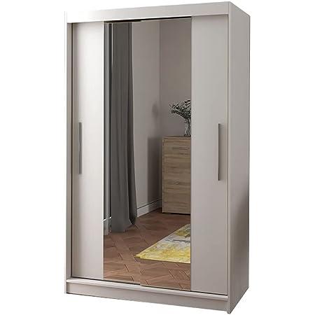 MEUBLO Armoire, Penderie avec étagères et 2 Portes coulissantes (L x H x P): 120x200x61 Noah 01 (Blanc)