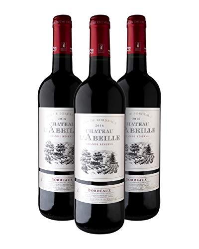 Château L'Abeille D.O.P. Bordeaux Grande Réserve Vino Tinto - Burdeos, Francia - Pack de 3 Bot. 75 cl.